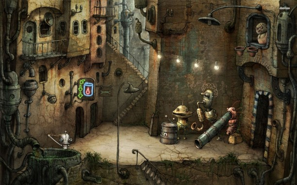 Find inspiration from everything. Machinarium is a fantastic example how a visual theme can be achieved very easily