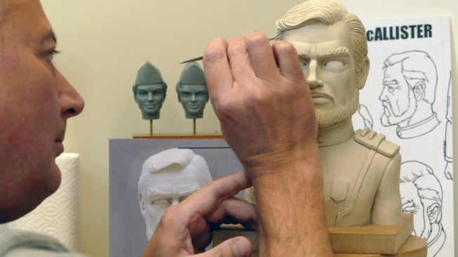 An actual character in the sculpting process