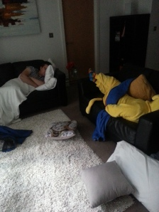 A late nights geeking out - a champions sleep. On the sofa.