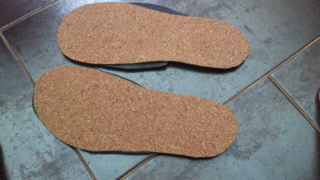My shoe bases - Cork and rubber. I might line it with a nice material so it feels better on the feet during the convention.