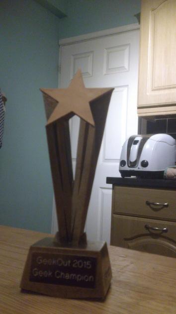 The winner of our first ever trophy: Regular GeekOut member Jon Dowling! Thanks Jon!!!