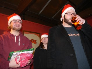 People beginning to gather for Super Secret Santa