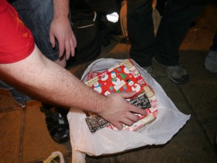Ho ho ho, Santa has a hairy arm.