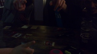 Gaming at night - It was brighter in the pub than this picture lets off!