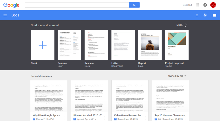 Here's a look at the GeekOut Google Docs page... We have a lot of stuff on here!
