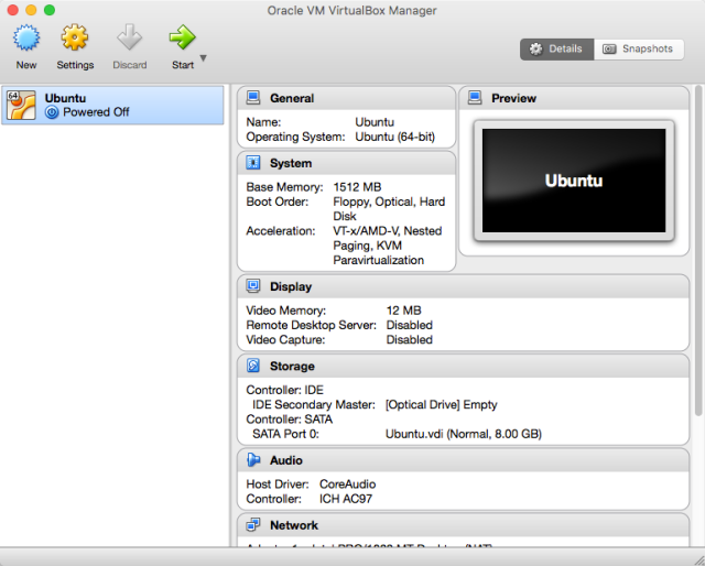 VirtualBox Manager with one machine