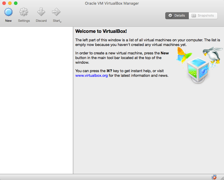 VirtualBox Main Screen