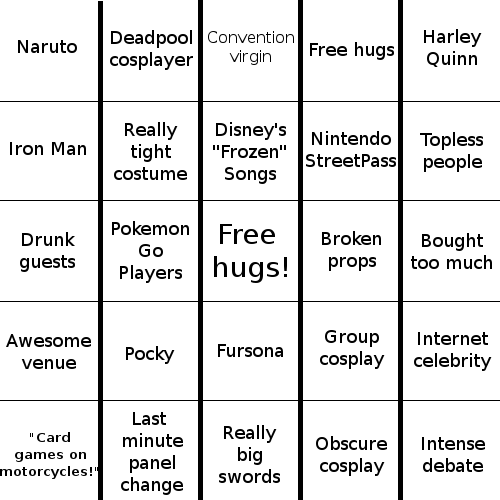 Comic Con Bingo Card