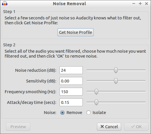 The Noise Removal tool is very simple to use!