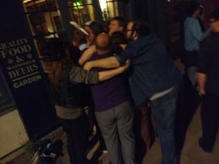 A group hug at the end of a GeekOut Bristol Meet
