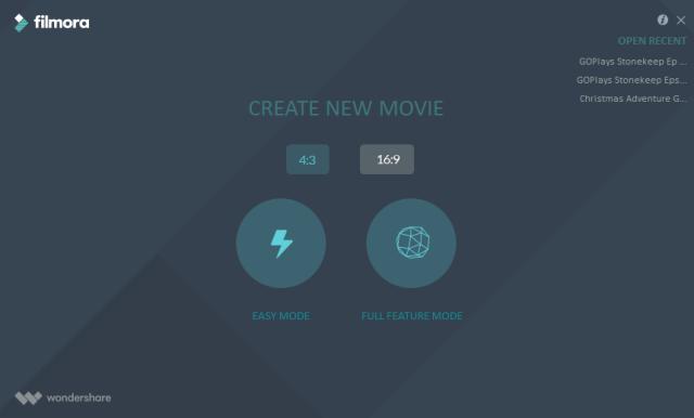 Filmora Create New Movie