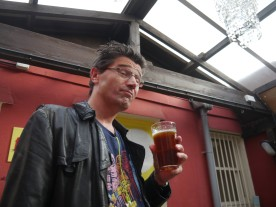 Andy with a driveby pint