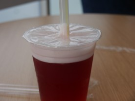Bubble tea - I had blueberry with strawberry bubbles