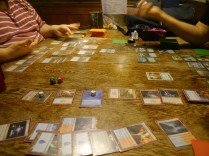 An intense game of Magic: the Gathering (Commander)