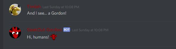 Discord Update: Gordon the GeekOutBot