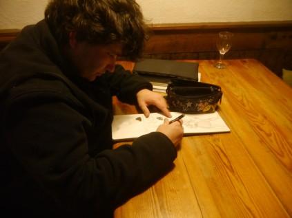 Greg Thorn doing a spot of art