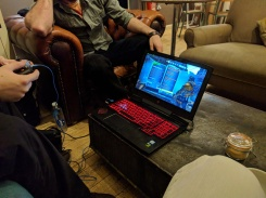 Murray playing Borderlands 2