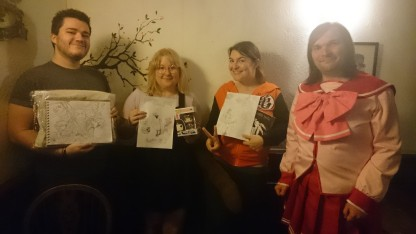 Our competition winners and a fantastic costume!