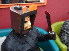 The final product of the TV Helm. Turns out, it was Friday 13th... Joe won first place with this.